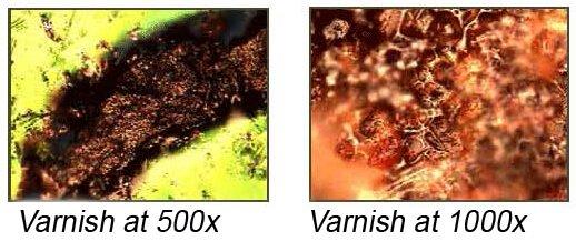 Varnish under microscope